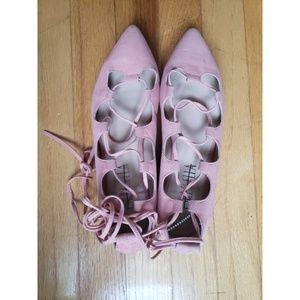 Anthropologie Billy Ella Lace Up Suede Blush Flats